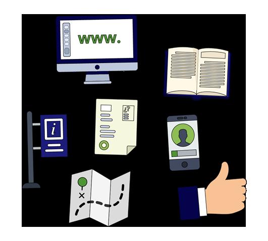 Dibujos de diferentes cosas que queremos hacer accesibles, como documentos, webs, mapas o señales.