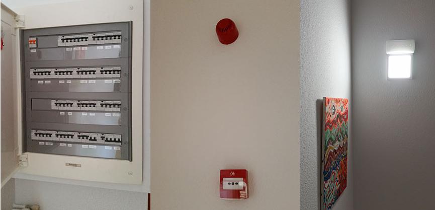 Alarma de incendios, escalera y luces de emergencia