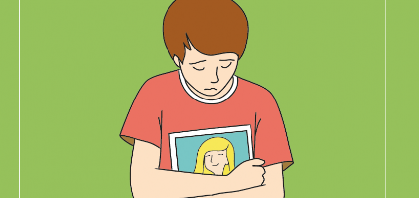 Dibujo de una persona triste con una foto entre los brazos.