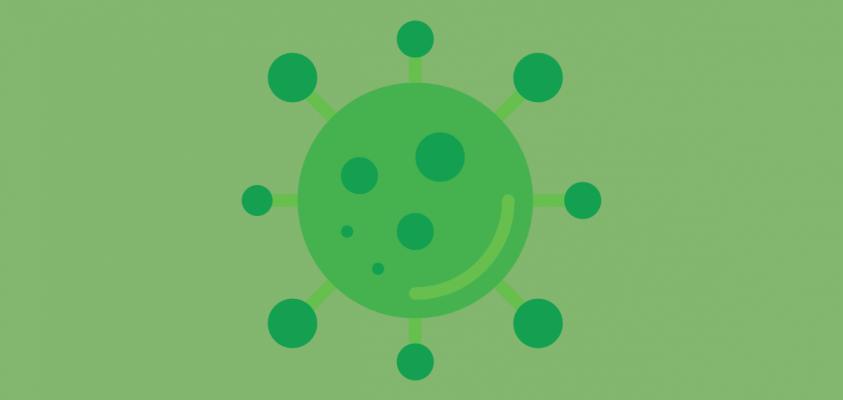 Dibujo de un virus verde.
