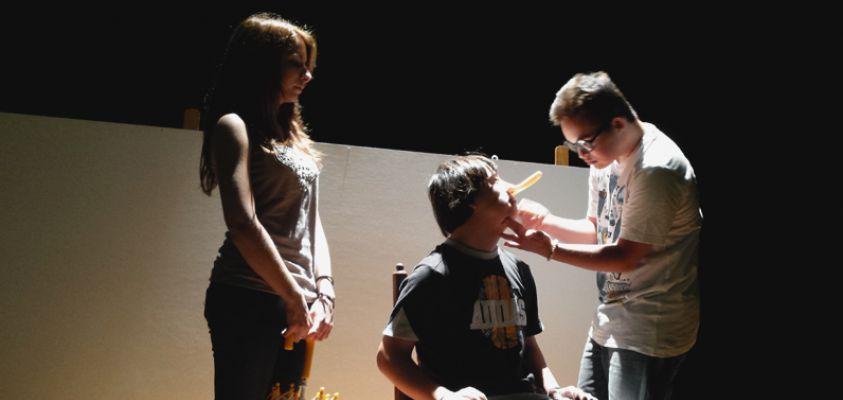 Ensayos de la obra de teatro, con el cuento de Pinocho