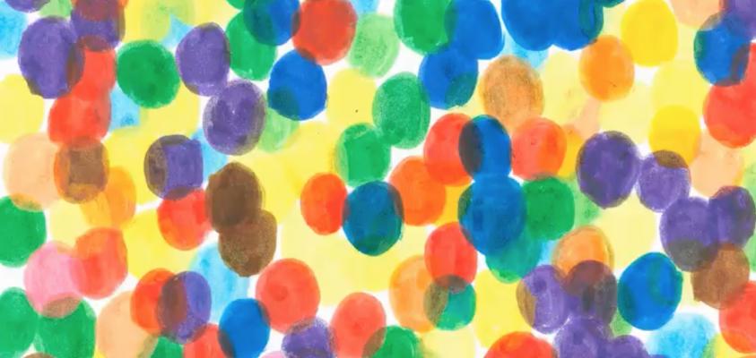 Postal con círculos de colores
