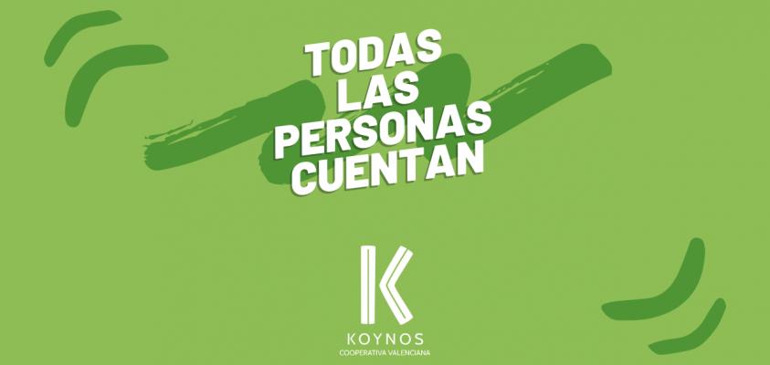 Todas las personas cuentan. Logo de Koynos Cooperativa.